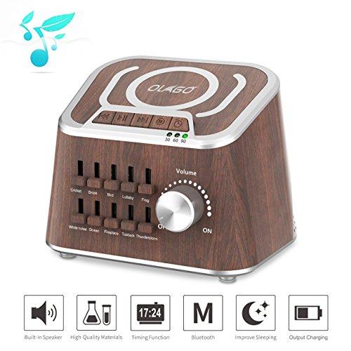 Olago weiße Geräuschmaschine, Mixed Sound Schlaf-Maschine für Schlaflosigkeit, Yoga, Arbeit - Kabelgebundenes Ladegerät, Bluetooth-Lautsprecher mit 10 natürlichen beruhigenden Tons (Schlaf-sound-maschine)