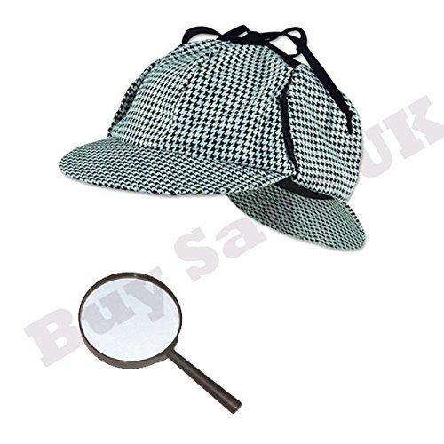 Blue Planet Online Kinder Sherlock Holmes Deerstalker Detektive Hut & Lupe Buch Woche Kostüm