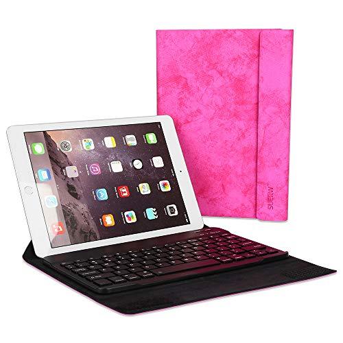 """SUERW iPad Hülle Universal mit Bluetooth Tastatur Kompatibel Mit 7.9""""/9.7""""/10.5"""" iPad und Andere Samsung Huawei Tablette (720H Arbeitszeit & Spritzwassergeschützt) - Rosa"""