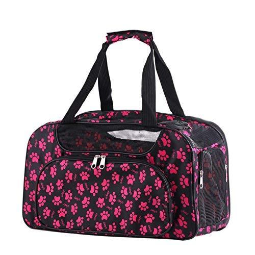 Chqinde Schultertasche Reisetasche Transporttasche Hundetasche Katzentasche Tragetasche für Hunde Hundebox Katzenbox 46×26×26cm, Pink Dog Carrier Netzfenster -