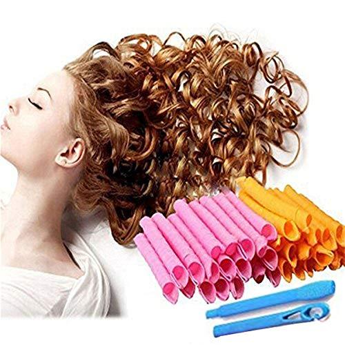 55cm Cute Lockenwickler harmlos für Haar und Create Curly Hair Style, 40 Stück Haar-Hair Styling Werkzeuge DIY Magic Twist Spiral Circle Curlformers Rollers Hair Maker Styling Tool