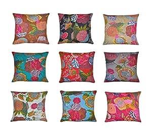 Labhanshi 16x 16indiano etnico Boemia set di 10colorato cotone quadrato decorativo per divano set Home decorative Fruit design boho gettare federa kantha cuscino