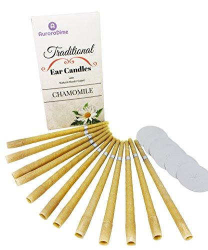 Velas de manzanilla tradicionales para terapia de velas en los oídos y aromaterapia ~ Cera de abeja pura y muselina de algodón natural con filtros y discos protectores ~ Calmantes y relajantes, hechas a mano, pack de 12 (6 pares) de AuroraDime