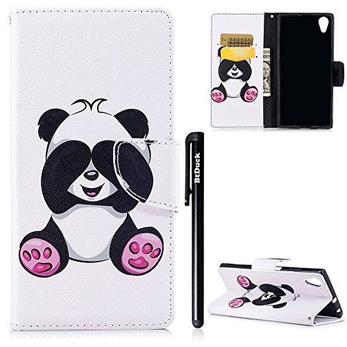 BtDuck Compatible with Schutzhülle Sony Xperia XA1 Plus Holster Handyhülle PU Leder Tasche Flip Magnet Case Tier Blume Schmetterling Bunt Brieftasche Etui Handy Hülle Niedlich Panda