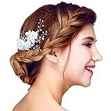 YAZILIND Schönheits-Braut-Haar-Kamm-weiße Spitze-Blumen Rhinestones-Hochzeits-Haar-Zusätze Partei für Frauen