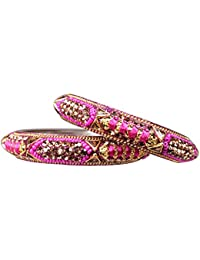 Manihaar Designer Pink Silk Thread & Pot Golden Stones And Kundan Beautiful Pair Of Lac & Brass Bangles