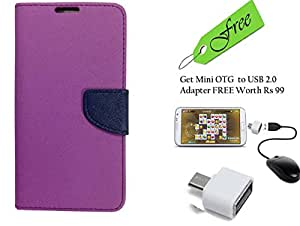 Novo Style Fancy Diary Wallet Flip Cover Case For Micromax Juice 2 AQ5001 Purple With FREE Stylish Little Adapter Micro USB OTG to USB 2.0 Adapter