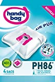 Handy Bag - PH86 - 4 Sacs Aspirateurs, pour Aspirateurs Philips, Electrolux, AEG et Tornado, Progress, Standard-Bag et Zanussi, Fermeture Hermétique, Filtre Anti-Allergène, Filtre Moteur
