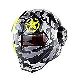 DESESHENME Motorradhelm Retro Halbhelm Open Face Helm Casque Motocross, Camouflage-60-61cm