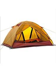 Super ligero senderismo tienda al aire libre doble cubierta carpa camping 20D gel de s¨ªlice viento y prevenci¨®n de lluvia tienda , orange