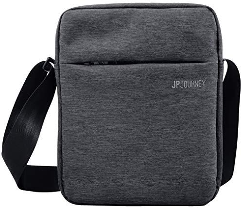 JP Journey Umhängetasche mit Tablet Fach bis 11 Zoll, Messenger Bag Klein mit RFID Fach, Herren Damen, Anti Diebstahl, iPad Air Pro, Grau