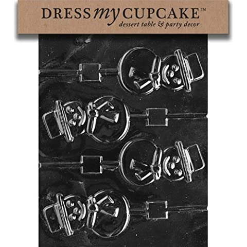 Dress My Cupcake DMCC117 Chocolate Candy Mold, Smiling Snowman Lollipop, Christmas by Dress My Cupcake