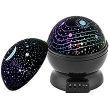 Estrella luz Noche Projector Lámpara, Supertech 360 Grados Luz nocturna Giratoria Romántica Lámpara Proyector Estrellas Luna Cielo Proyector 3 Modo de la ...