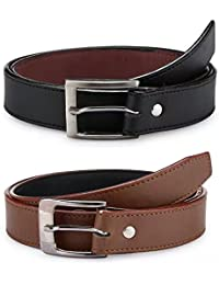 Krystle Boy's PU Leather Belts (KRY-BOY-BLK-BRN1-PO2-BELT, Black and Brown, Free Size, Pack of 2)