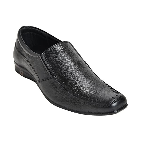 Comfortable-Genuine-Leather-Made-Black-Coloured-Slip-On-Ethnic-Shoe-For-Mens