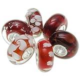 Juego de 6 cuentas redondas de plata de ley 925 con flores rojas y blancas para pulseras de abalorios europeas.