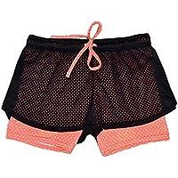 Sport pantalones de yoga, ✽Internet✽ Pantalones cortos de la yoga de la cintura de los deportes de los deportes de las mujeres (Naranja, M)
