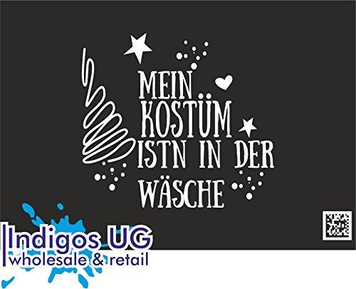 INDIGOS UG Aufkleber Autoaufkleber - JDM Die Cut - Fasching - Mein Kostüm Wäsche - 110X100mm weiß Auto Laptop Tuning Sticker Heckscheibe (Weiße Kostüm Motorhaube)