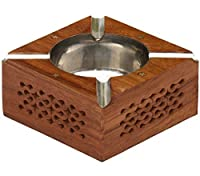 Wooden Ashtray with 4 Cigarette Holder Slots