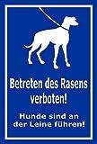 Schild - Betreten des Rasens verboten - Hunde sind an der Leine zu führen – 30x20cm | stabile 3mm starke Aluminiumverbundplatte – S00216-007-F +++ in 15 Varianten erhältlich