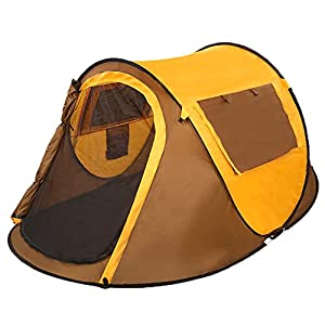 51TZoV57UYL. SS300  - Portable Single Layer Boat Figure Fast Pitch Waterproof UV Protection Outdoor Camping 3-4 Man Tent Color Yellow