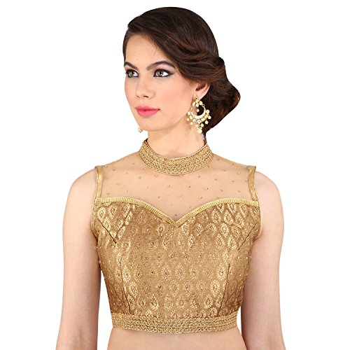 Melluha Women'S Brocade & Georgette Saree With Blouse Piece Blouse (Mbr-0156_38_Gold_38)