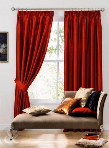 Just contempo tende in finta seta preconfezionate e interamente foderate, plissettate, in tinta unita, effetto seta, rosso, tende 117 x 137 cm
