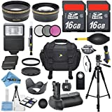 Mega Professional Accessory Bundle Kit For Canon EOS 7D Mark II DSLR Camera With 32GB In Memory + 2X Telephoto + Wide Angle Lens + Multi-Power Battery Grip + SLR Auto Flash + LP-E6 Battery + More!