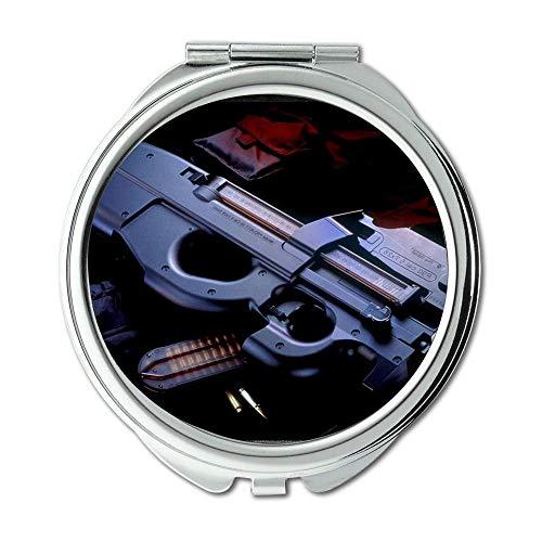 Yanteng Spiegel, Schminkspiegel, Pistolensee, runder Spiegel, Pistole, Taschenspiegel, tragbarer Spiegel - Prinzessin Beistelltisch