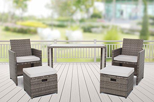 Ambientehome Polyrattan Gartenmöbel grau Rattan Essgruppe Gartenset Lounge Sitzgruppe Sofa Loungemöbel Garnitur inkl. Kissen Olifen 50214