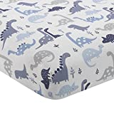 Bedtime Originals Roar Dinosaur Fitted Crib Sheet, BlueWhite