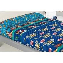 SABANA INFANTIL DE INVIERNO PIRINEO PATRULLA CANINA cama de 90 - Encimera + sábana bajera ajustable + funda de almohada.