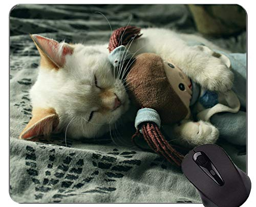 Gaming Mouse Pad Benutzerdefinierte, Baby Tier Kätzchen Pet Sleeping Cute Cat rutschfeste Gummibasis Mousepad