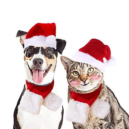 Legendog Weihnachten Haustier Kostüm, Stirnband Set Plüsch Geweih Haustier Hut Haustier Kostüm mit Haustier Schal (Katze Kostüm Set)