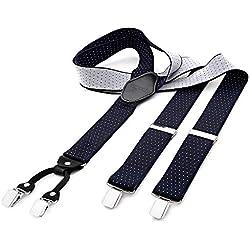 DonDon tirantes anchos 3,5 cm para hombres con 4x clips con cuero en forma de Y - elástico y longitud ajustable - con lunares en azul blanco