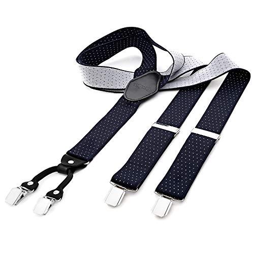 Dondon bretelle uomo larghe 3,5 cm 4 clips in pelle a y - elastiche e regolabili, a pois blu e neri