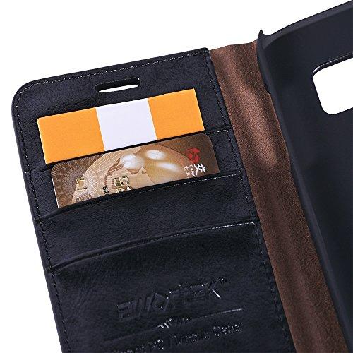 awortek echt Leder für Apple iphone 6 / 6s Schutzhülle Wallet case handytasche Cover Hülle Handyhülle mit Decke Smartphone Handy - schwarz samsung galaxy s7 edge schwarz