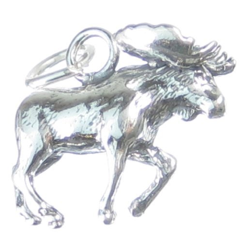 In argento sterling 925 a forma di 1 x alce Mooses CF380 Animal charms