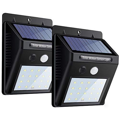 Luces solares, luz de pared con sensor de movimiento de 20 LED,...