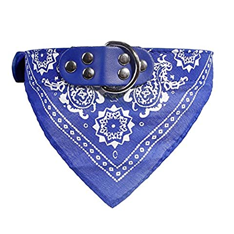 BoodTag Dog Bandana Collar Adjustable Neckerchief Strap Neck Scarf Triangle Towels Saliva Towel Paisley Pattern Fashion Accessories Puppy Cat Pet Products (M, Blue)