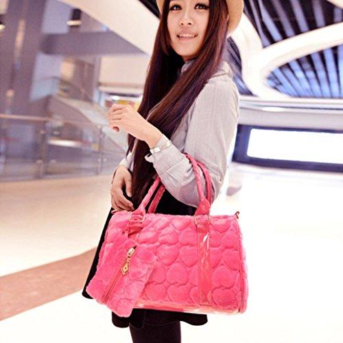 Hunpta Frauen Leder Handtasche Schulter Crossbody Tasche Tote Messenger Tasche Handtasche Hot Pink