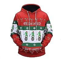 Msliy Sudadera Navideña con Capucha para Hombres, Sudadera de Navidad Cuello Redondo con Patrón de Feliz Navidad Ciervo Sudadera Pullover Suéter de Navidad