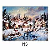 Widdle Geschenke LTD Weihnachten 40cm x 30cm LED Licht Leinwand Bild–Häuser–N3