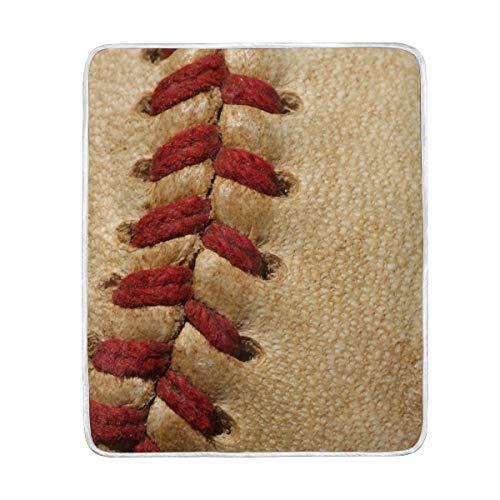 Baseball-Decke, klassisches rotes Seil, weich, warm, leicht, Samt, Kurze Plüsch-Mikrofaser-Decke für Bett, Couch Stuhl, Sofa, Reisen, Camping, 127 x 152 cm (Baseball-decke)