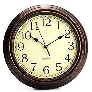 Tebery Quarz Dekorative Klassische Uhr Nostalgie Wanduhr ohne Tickgeräusche 12zoll