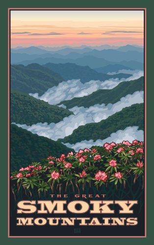 Northwest Art Mall Great Smoky Mountains Rhododendrons im Frühling, North Carolina, Wandschmuck von Paul Leighton, 28 x 43 cm