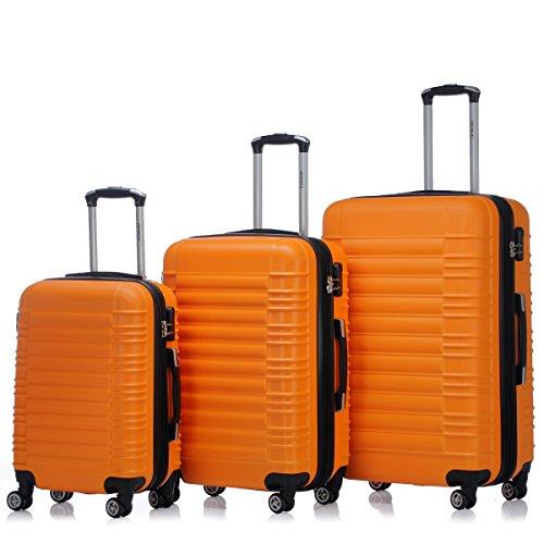 Zwillingsrollen 2088 Reisekoffer Koffer Trolleys Kofferset Reisekofferset Hartschale in 14 Farben (Orangen)