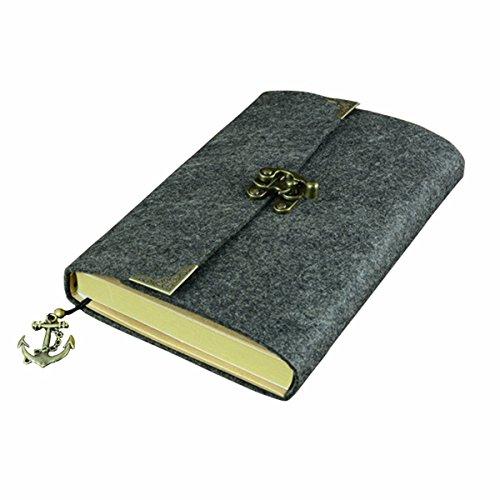sayeec Retro Slim Filz Cover Hardcover Notebook mit Bronze Lock–liniert Tagebuch Travel Schreiben Journal Zeichnen Einband 7.8*5.5inch - Owl Gewicht Papier