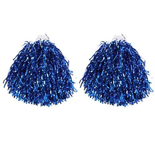 VORCOOL 1 Paar Cheerleader Pompons Metallic Tanzwedel Sport Pompoms Puschel Party Cheer Zubehör (Blau)