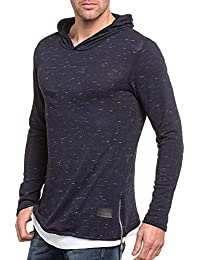 Celebry tees - Pull homme fin capuche bleu chiné
